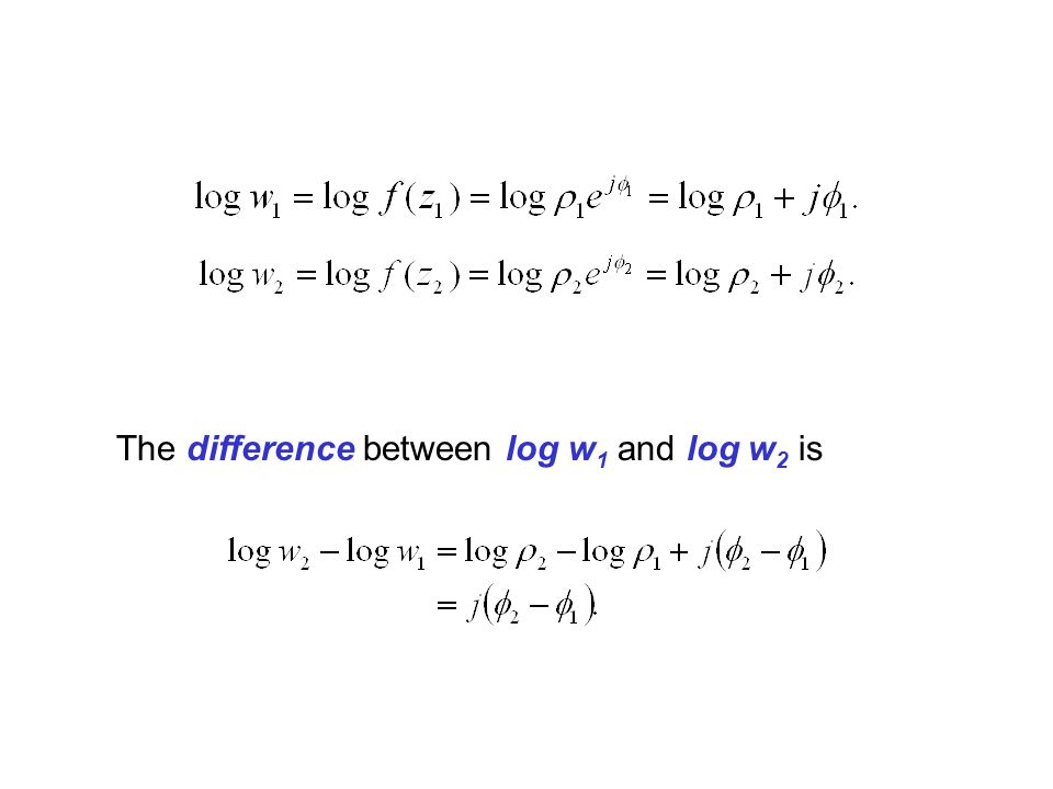 The difference between log w1 and log w2 is