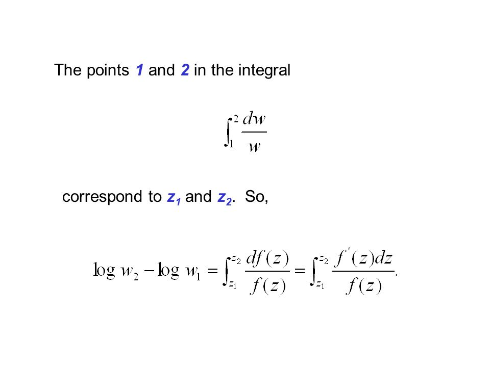 The points 1 and 2 in the integral