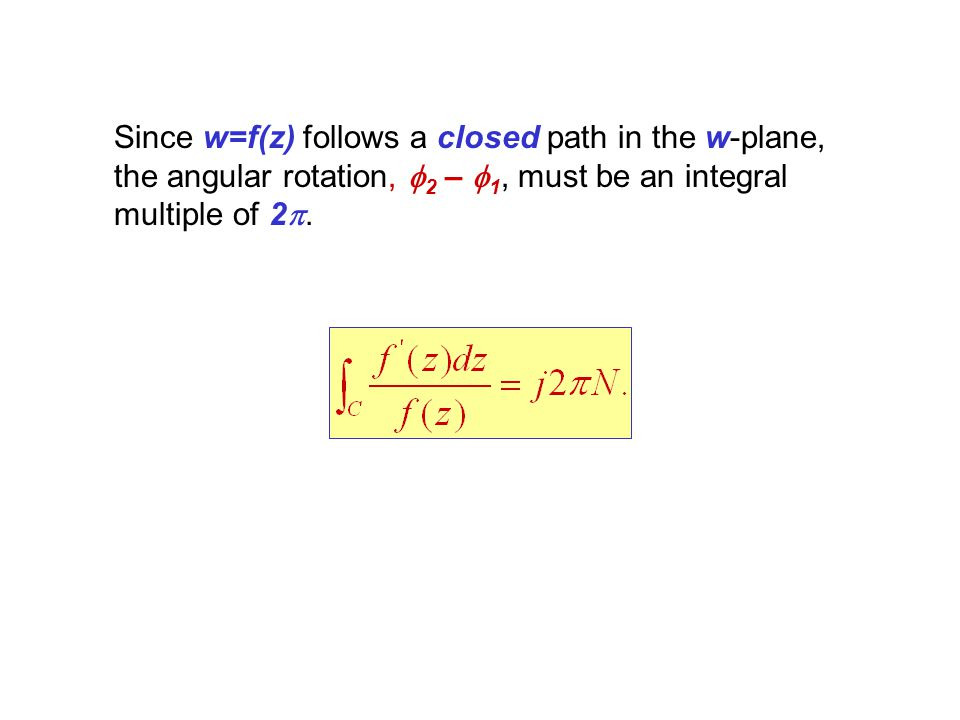 Since w=f(z) follows a closed path in the w-plane, the angular rotation, f2 – f1, must be an integral multiple of 2p.