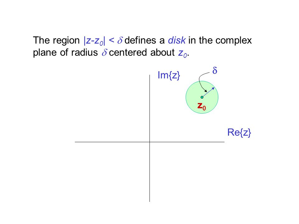 The region |z-z0| < d defines a disk in the complex plane of radius d centered about z0.