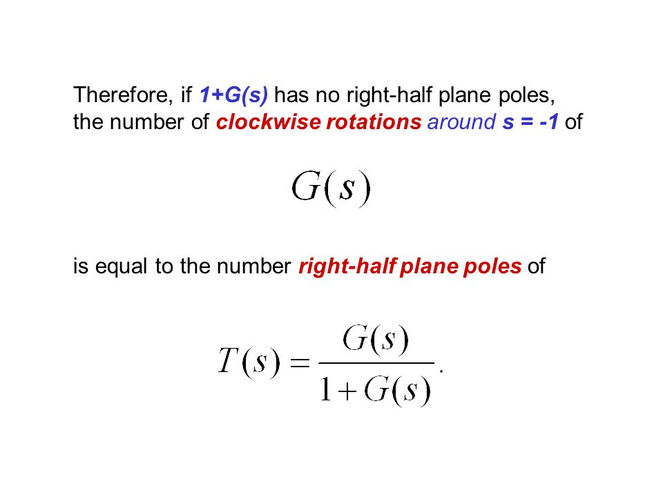 Therefore, if 1+G(s) has no right-half plane poles, the number of clockwise rotations around s = -1 of