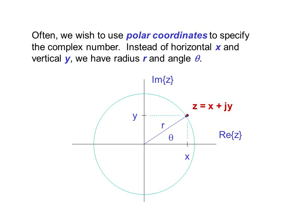 Often, we wish to use polar coordinates to specify the complex number