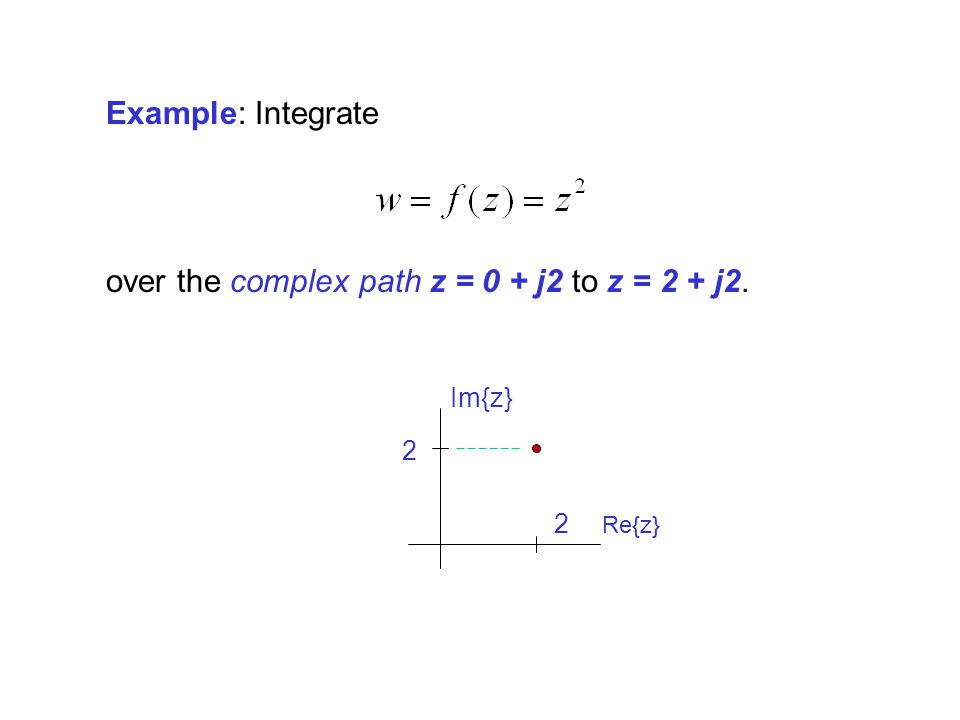 over the complex path z = 0 + j2 to z = 2 + j2.