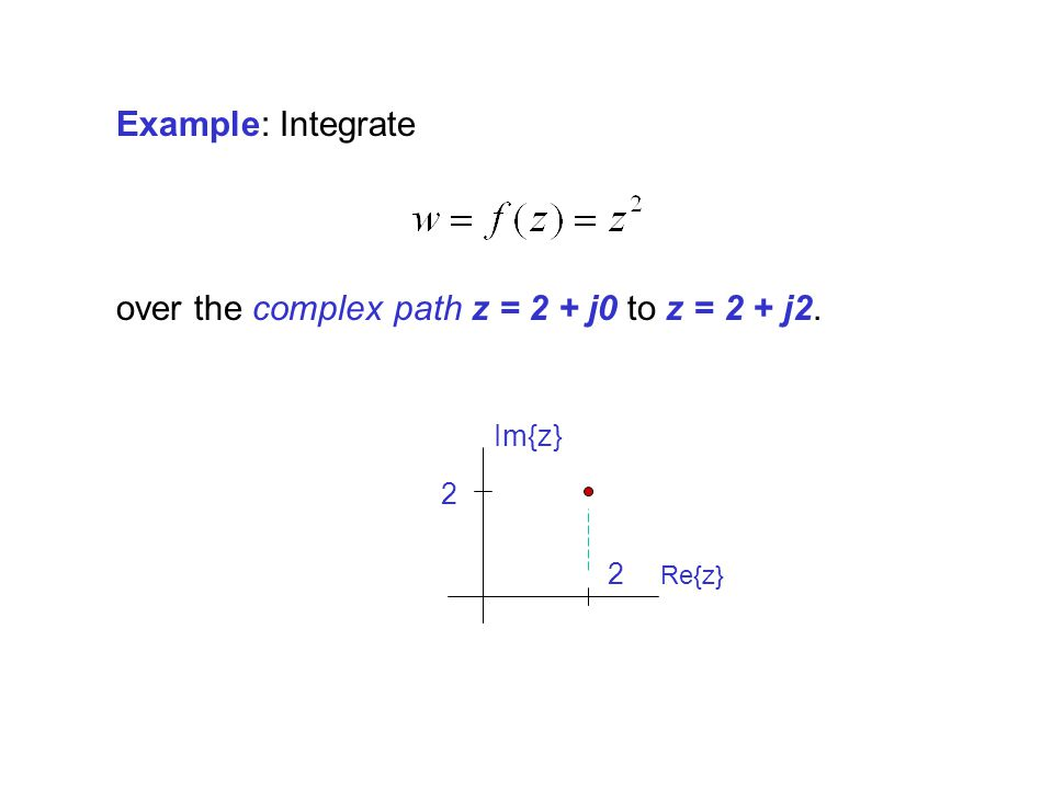 over the complex path z = 2 + j0 to z = 2 + j2.