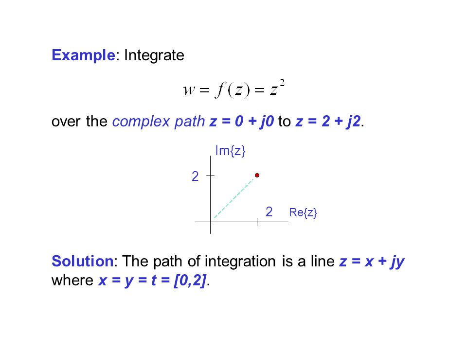 over the complex path z = 0 + j0 to z = 2 + j2.