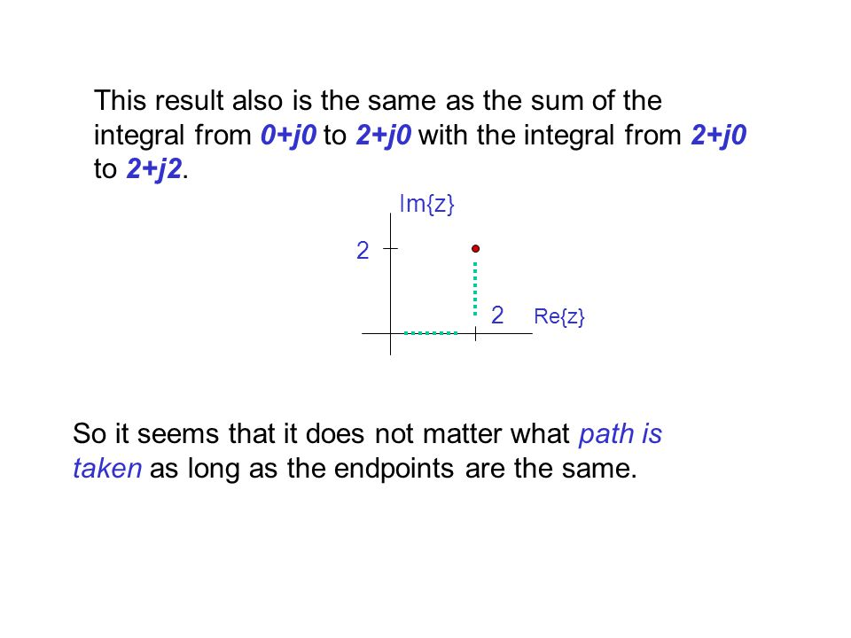 This result also is the same as the sum of the integral from 0+j0 to 2+j0 with the integral from 2+j0 to 2+j2.