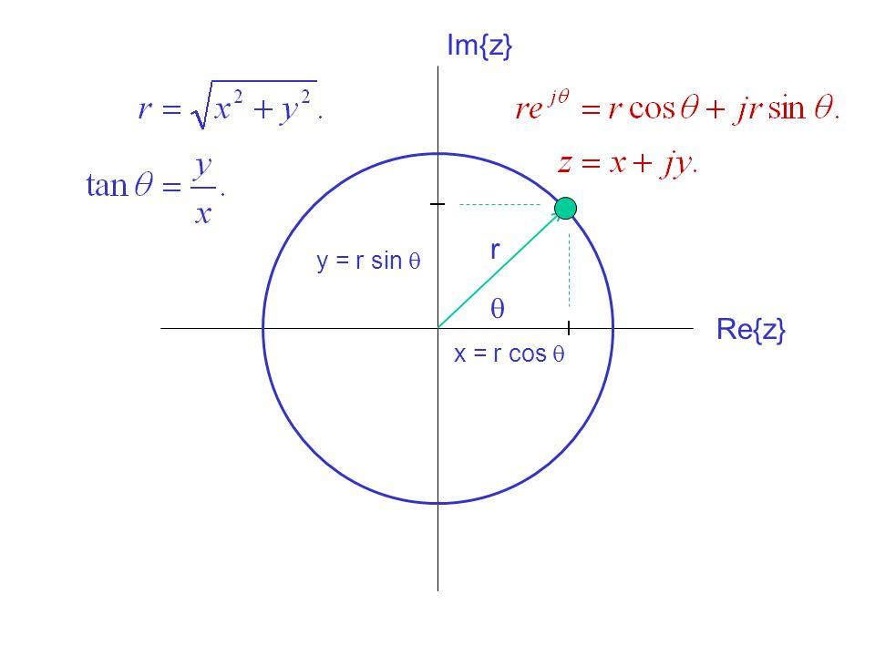 Im{z} r y = r sin q q Re{z} x = r cos q