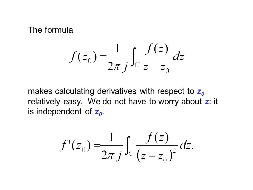 The formula makes calculating derivatives with respect to z0 relatively easy.