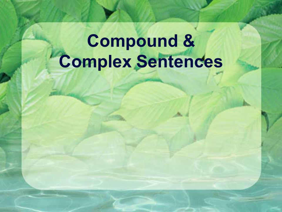 Compound & Complex Sentences
