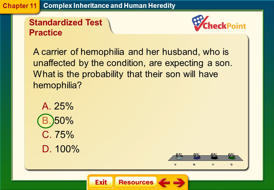 Chapter 11 Complex Inheritance and Human Heredity. Standardized Test Practice.