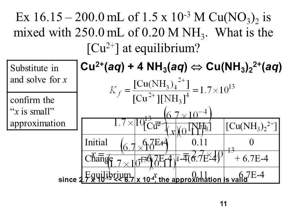 Cu2+(aq) + 4 NH3(aq)  Cu(NH3)22+(aq)