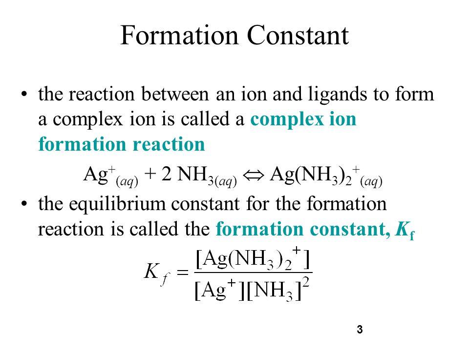 Ag+(aq) + 2 NH3(aq)  Ag(NH3)2+(aq)