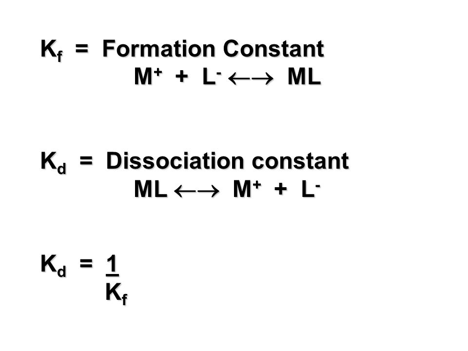 Kf = Formation Constant