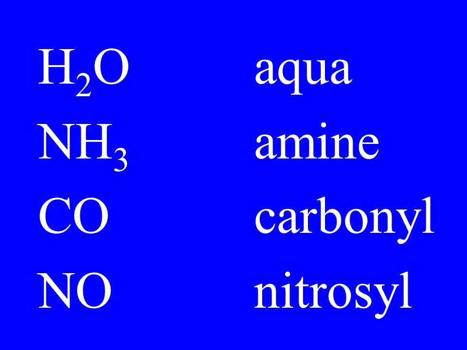 H2O aqua NH3 amine CO carbonyl NO nitrosyl