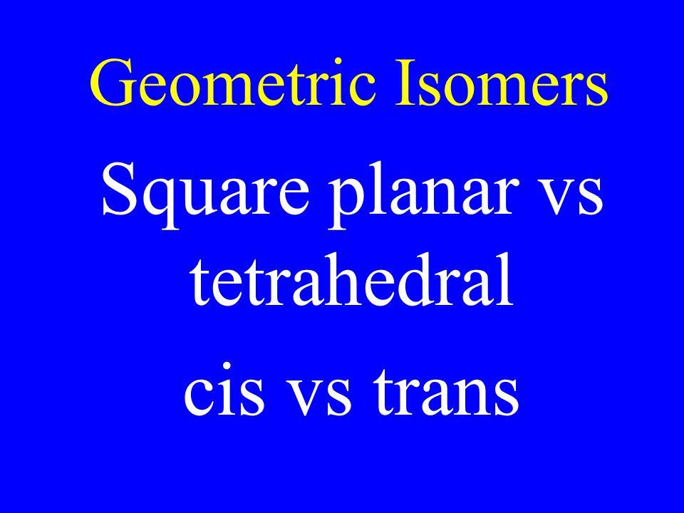 Square planar vs tetrahedral