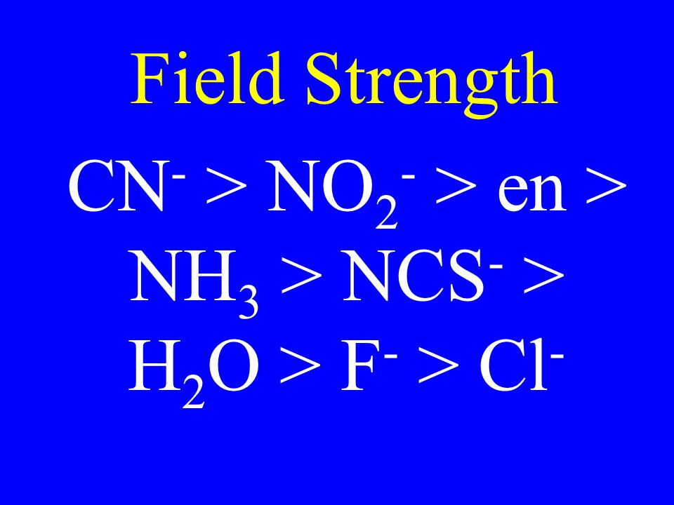 CN- > NO2- > en > NH3 > NCS- > H2O > F- > Cl-