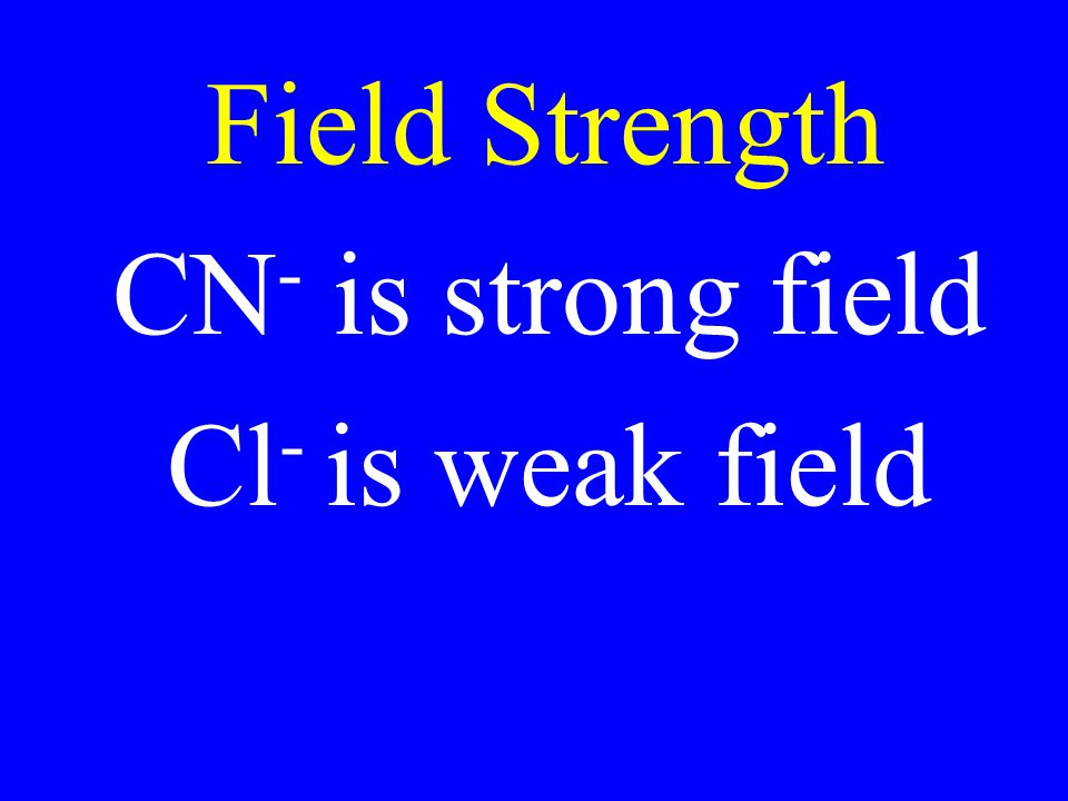 Field Strength CN- is strong field Cl- is weak field