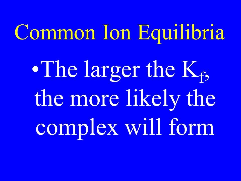 The larger the Kf, the more likely the complex will form