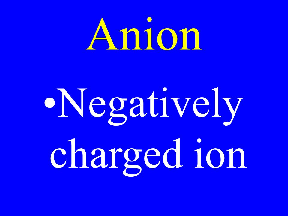 Negatively charged ion