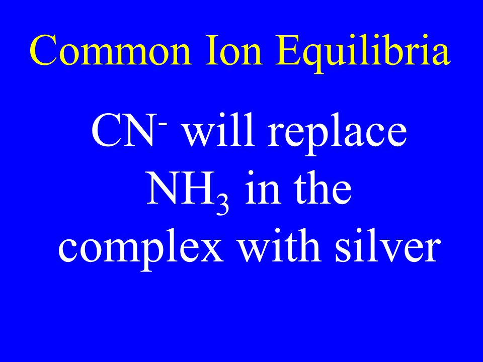 Common Ion Equilibria CN- will replace NH3 in the complex with silver
