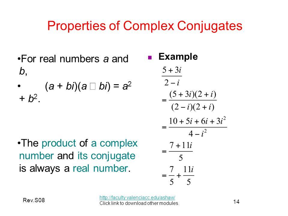Properties of Complex Conjugates