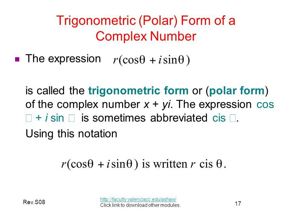 Trigonometric (Polar) Form of a Complex Number