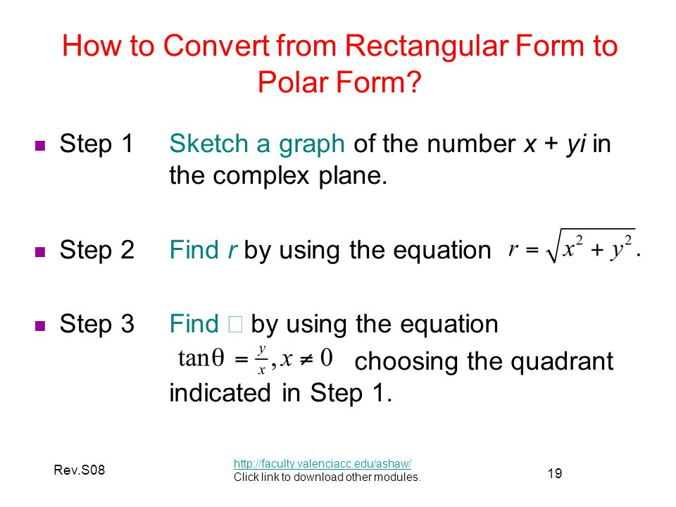 How to Convert from Rectangular Form to Polar Form