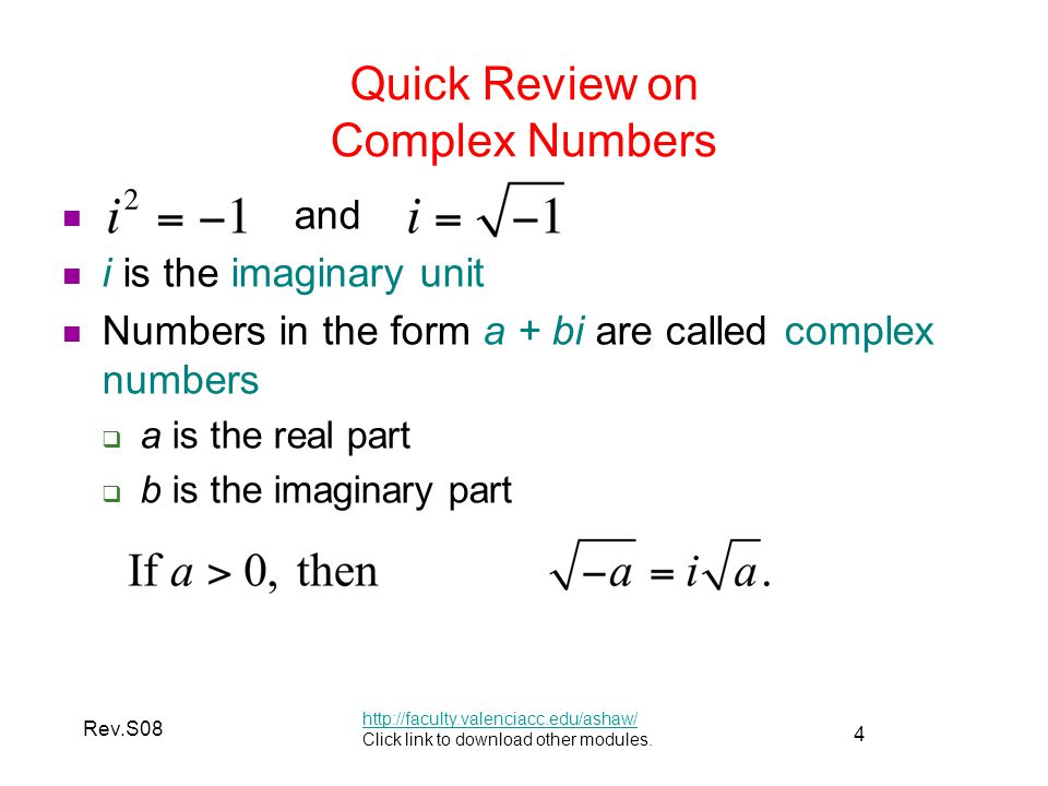 Quick Review on Complex Numbers