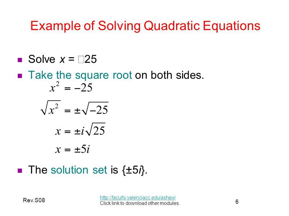 Example of Solving Quadratic Equations