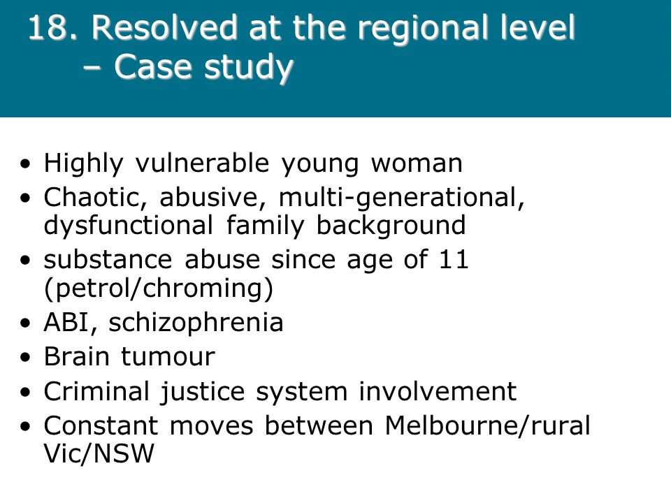 18. Resolved at the regional level – Case study