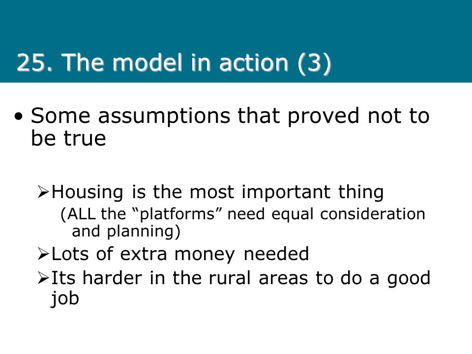 25. The model in action (3) Some assumptions that proved not to be true. Housing is the most important thing.