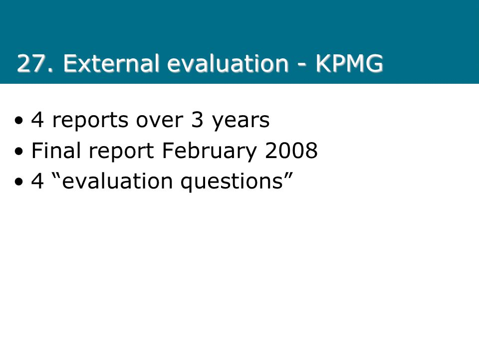 27. External evaluation - KPMG