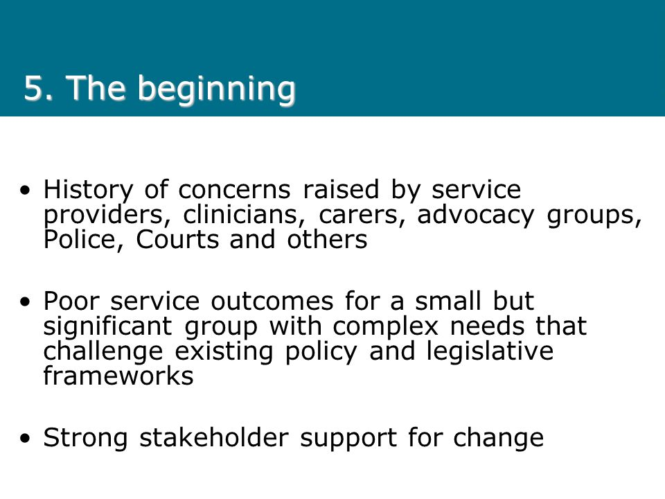 5. The beginning History of concerns raised by service providers, clinicians, carers, advocacy groups, Police, Courts and others.