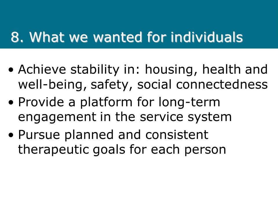 8. What we wanted for individuals