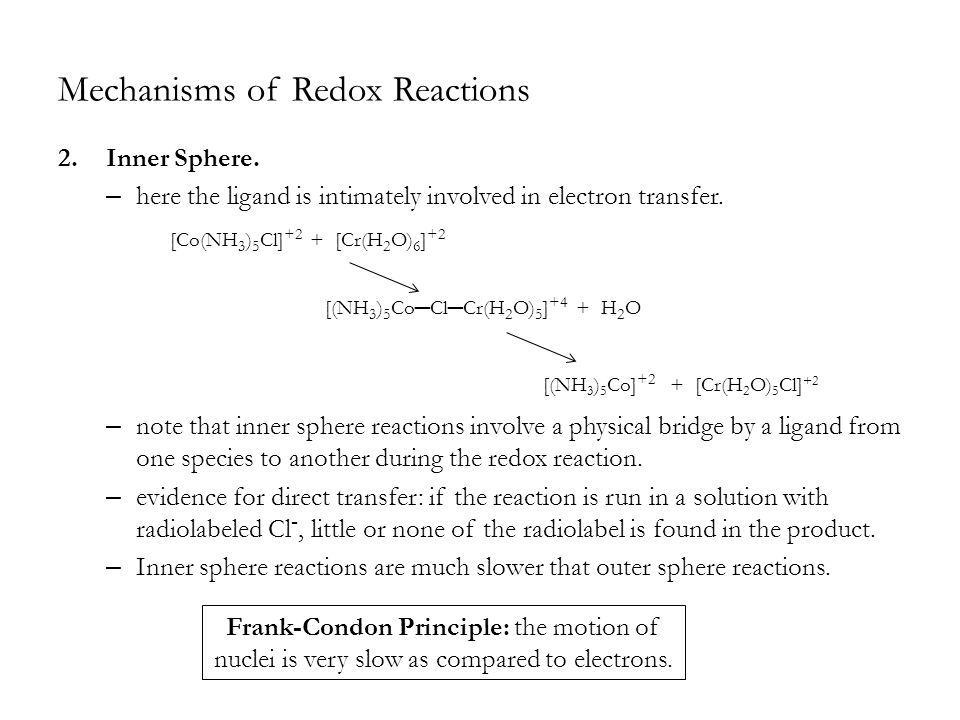 Mechanisms of Redox Reactions