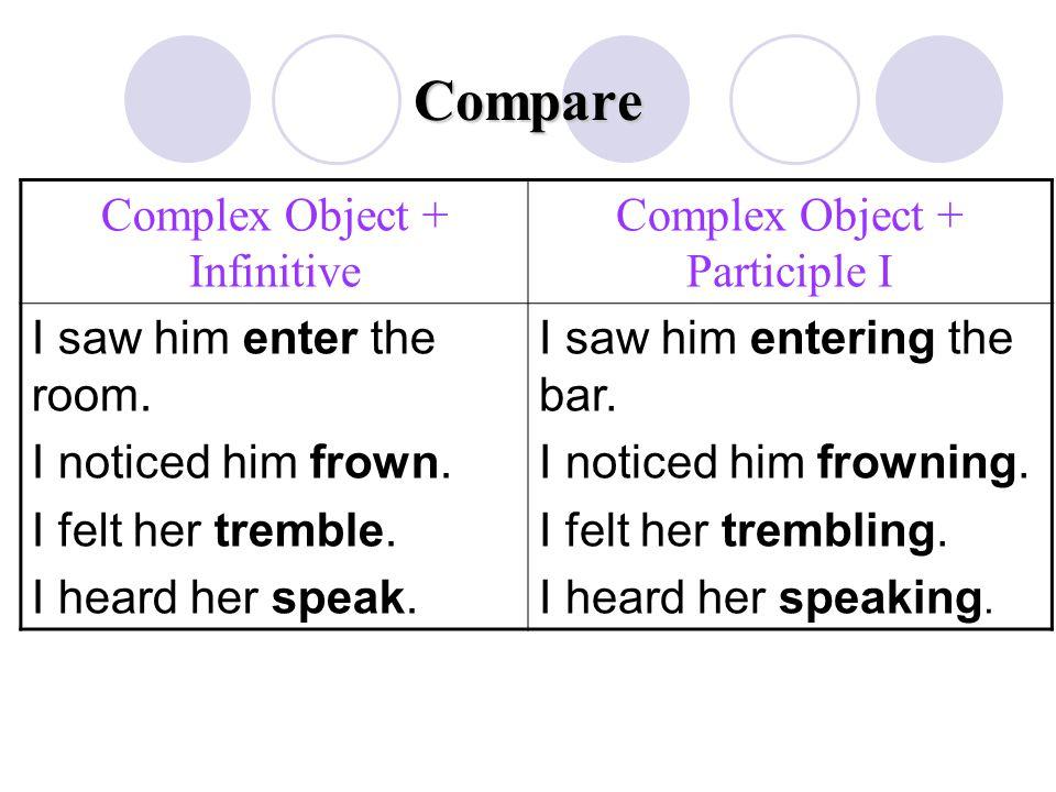 Compare Complex Object + Infinitive Complex Object + Participle I