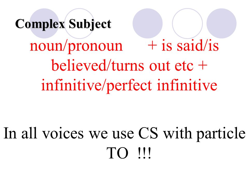 In all voices we use CS with particle TO !!!