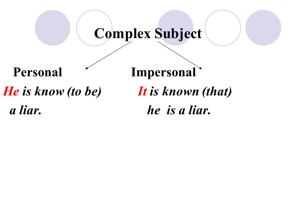 Complex Subject Personal Impersonal