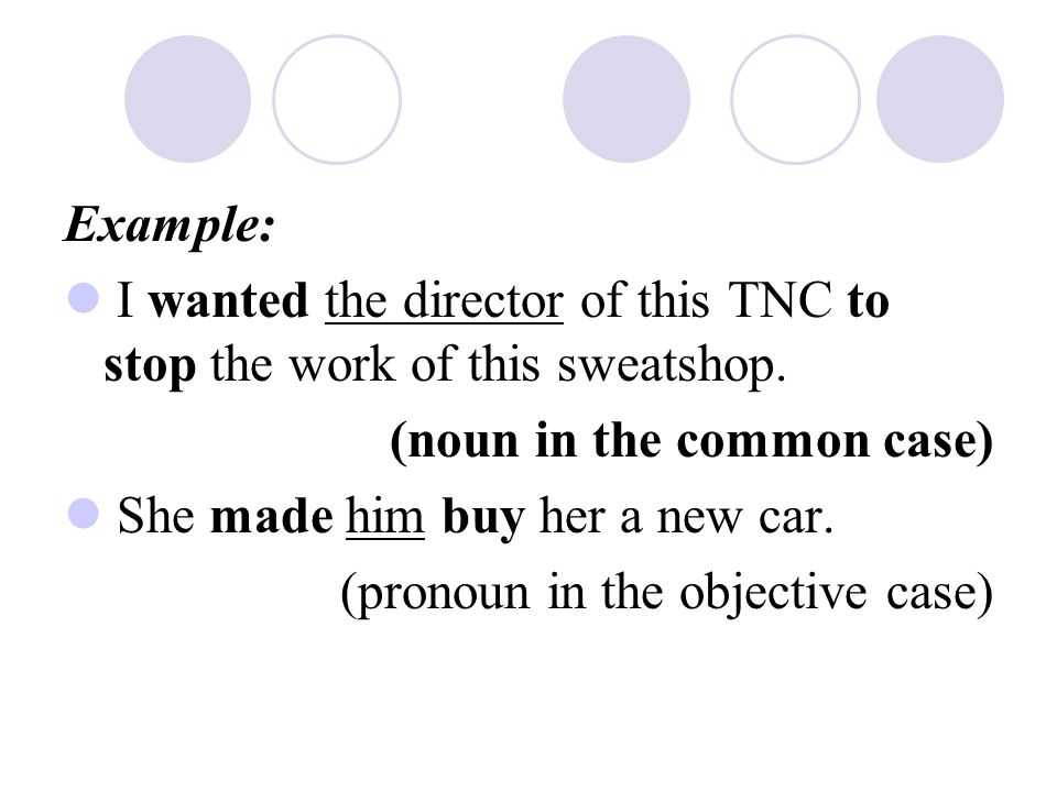 Example: I wanted the director of this TNC to stop the work of this sweatshop. (noun in the common case)