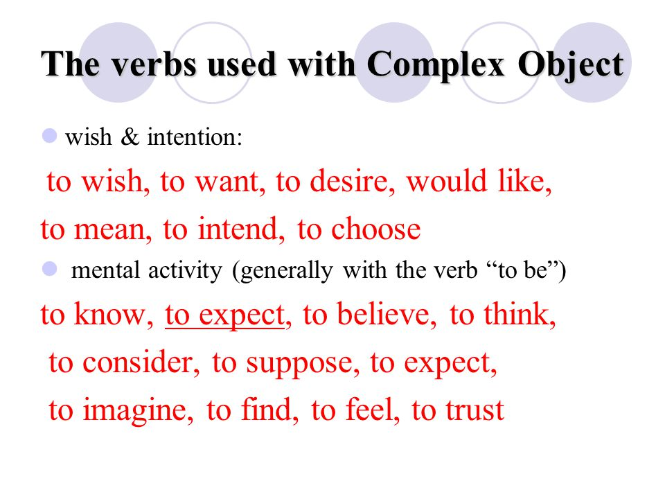 The verbs used with Complex Object