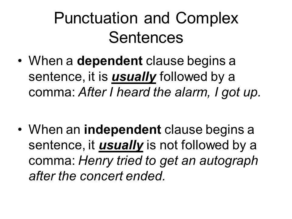 Punctuation and Complex Sentences