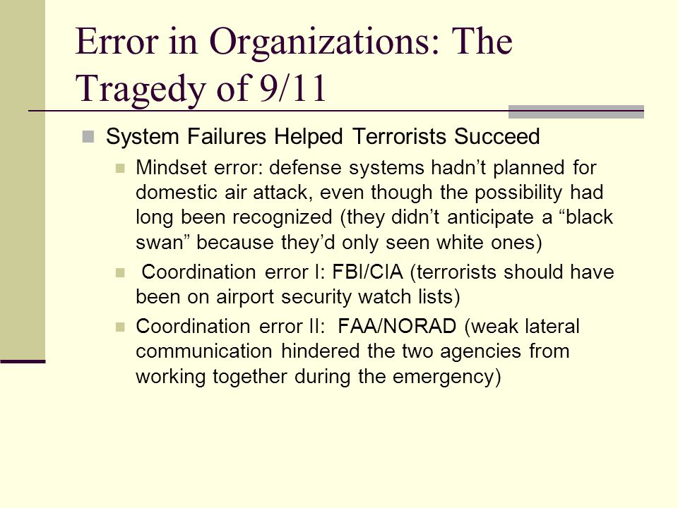Error in Organizations: The Tragedy of 9/11