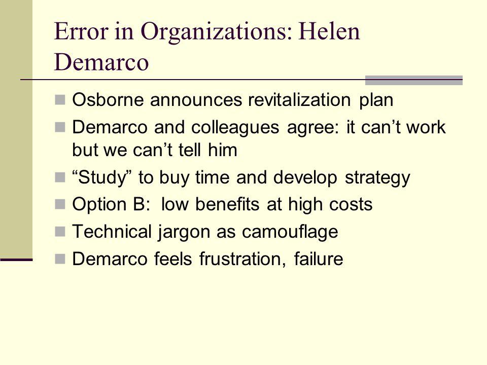 Error in Organizations: Helen Demarco