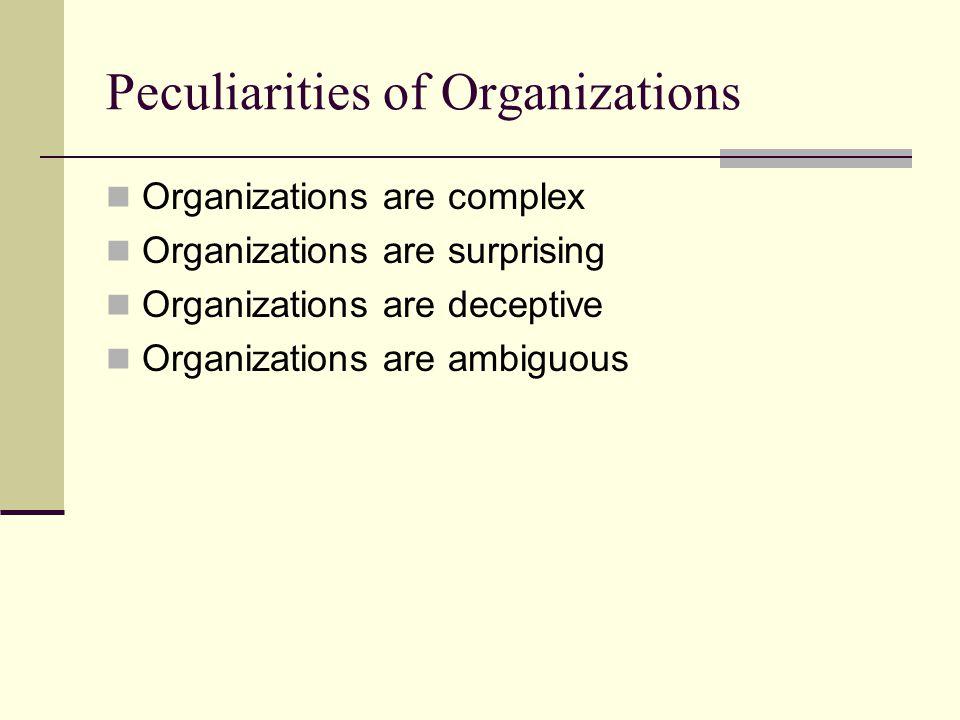 Peculiarities of Organizations