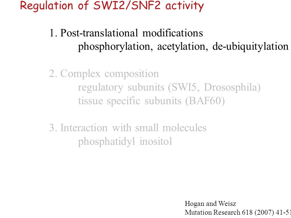Regulation of SWI2/SNF2 activity 1. Post-translational modifications