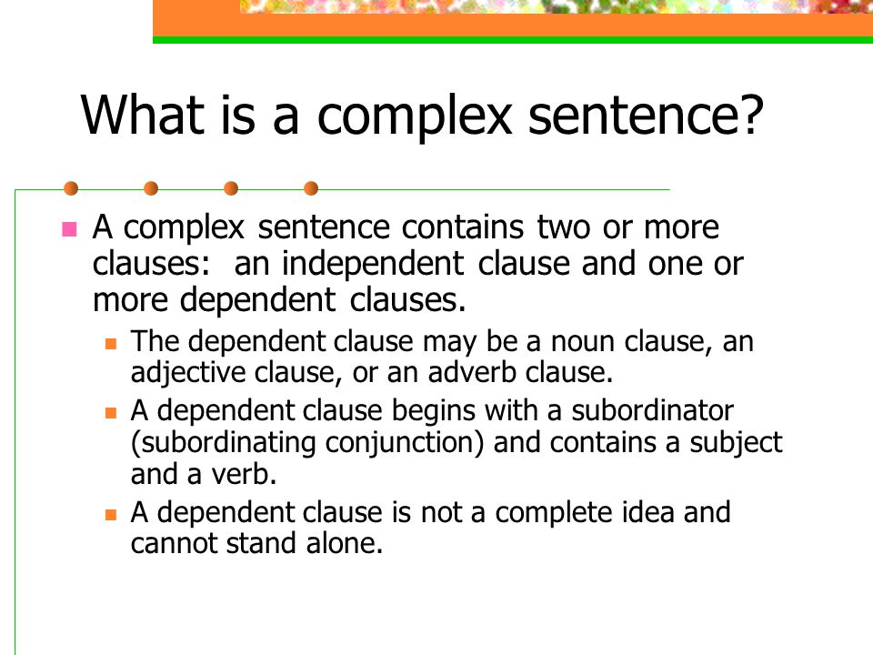 Formation of a complex sentence with an adjective clause