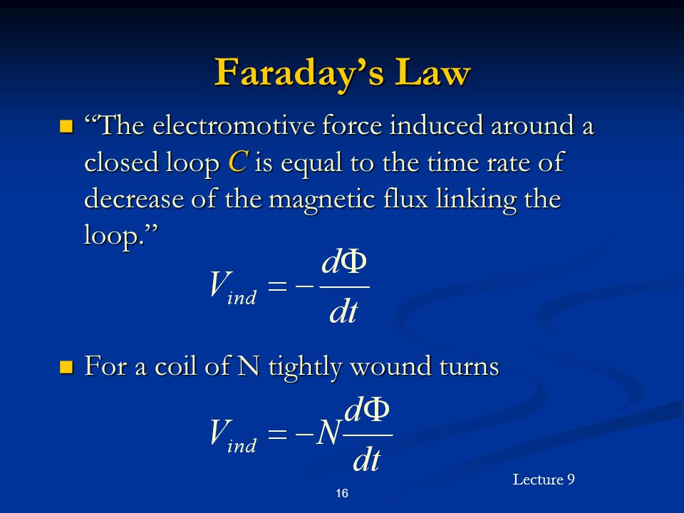 Faraday's Law The electromotive force induced around a closed loop C is equal to the time rate of decrease of the magnetic flux linking the loop.