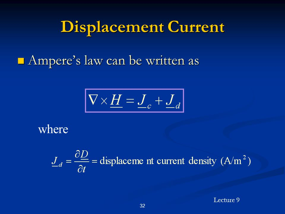 Displacement Current Ampere's law can be written as where 32