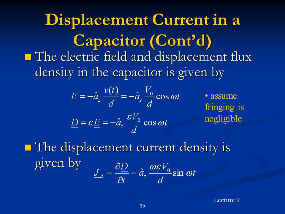 Displacement Current in a Capacitor (Cont'd)