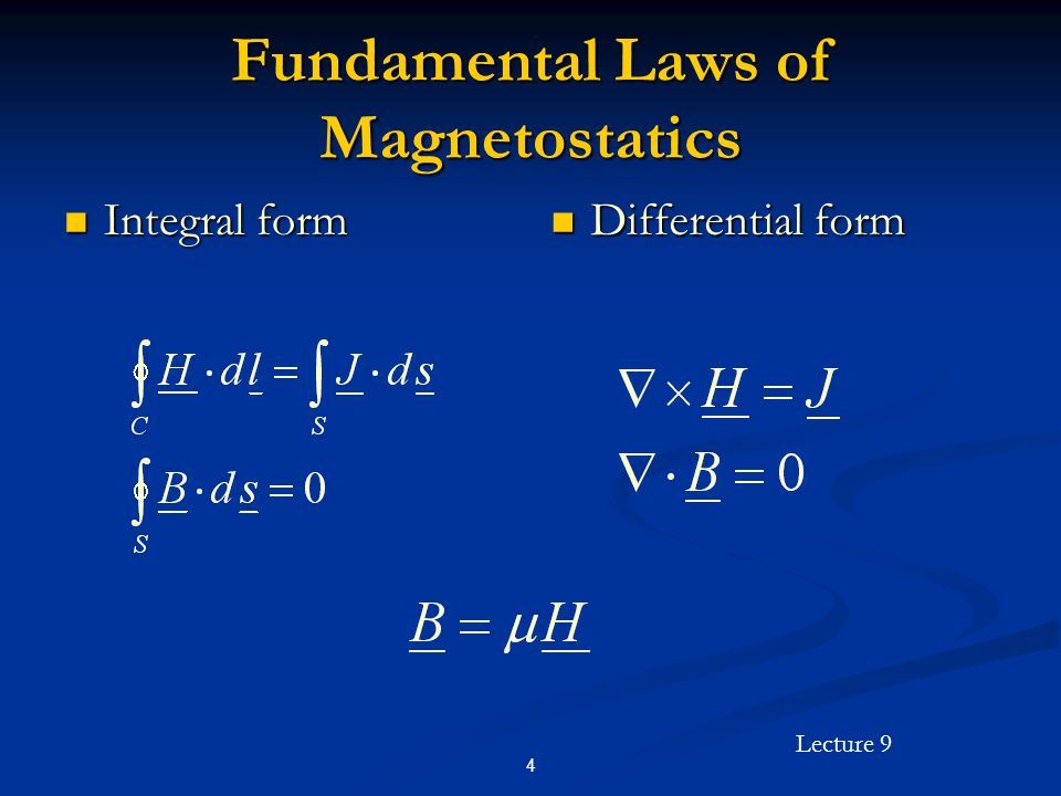Fundamental Laws of Magnetostatics